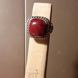 925 silver braided ring sz 6 red marbled stone